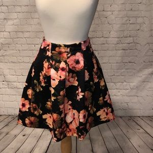 Black Floral Pleated Knit Skirt Kate & Mallory